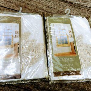 Home Trends Accents - 2 Battenburg Lace Swag Curtains New Beige 70×38″